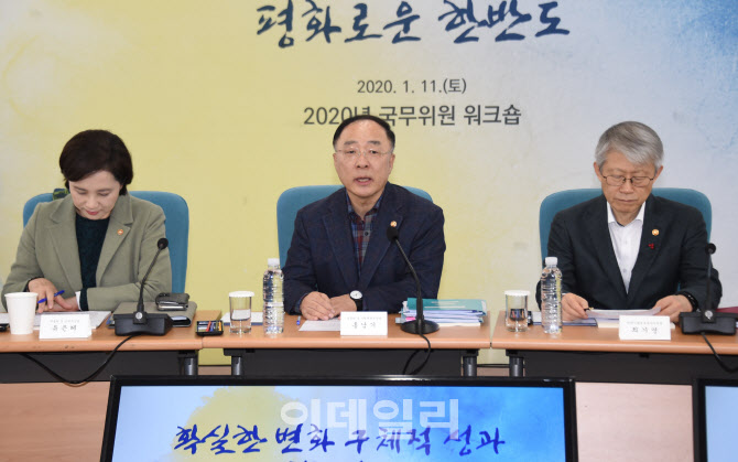 "Hong Nam-ki, Deputy Prime Minister and Minister of Economy and Finance said ""I am looking forward to clear-cut change that can transform the lives of every single citizen this year"" on the Cabinet Member's workshop was held at National Human Resources Development Institution (NHI) in Gwacheon city, Gyeonggi-do. Provided by Ministry of Economy and Finance"